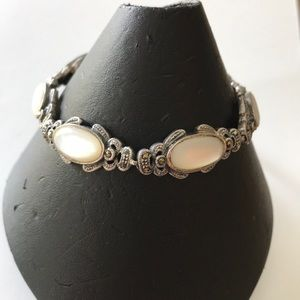 Jewelry - Lovely sterling silver marcasite & mother of pearl